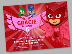 Owlette Superhero Birthday Party Printable by BackdropsEtc on Etsy