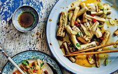 With spring onion and garlic dressing