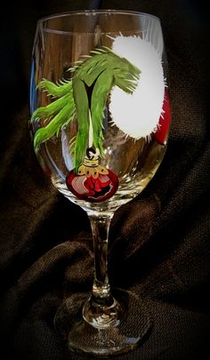 Grinch Hand Wine Glass by YallTalkFunny on Etsy