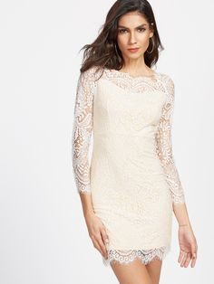 Shop Beige Eyelash Lace Overlay Bodycon Dress online. SheIn offers Beige Eyelash Lace Overlay Bodycon Dress & more to fit your fashionable needs.