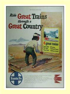 1950 Santa Fe railroad 6 great trains vintage print AD