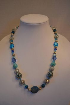Sparkling Blue and Silver Necklace by SKDesignsCo on Etsy