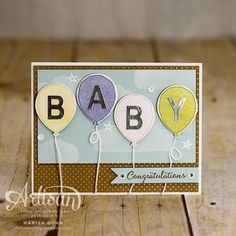 Hello, and welcome back! I'm popping in tonight to share another card using the Shine On Specialty Designer Series Paper, this time for a baby card. I also used the Balloon Celebration stamp set. The small polka-dot pattern from the. Ballon Party, Baby Congratulations Card, Baby Balloon, New Baby Cards, Baby Shower Cards, Stamping Up Cards, Handmade Birthday Cards, Paper Cards, Kids Cards