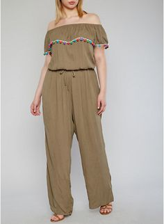 Plus Size Off the Shoulder Jumpsuit with Pom Pom Trimmed Ruffle,OLIVE