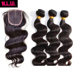 Buy Brazilian Virgin Hair With Closure 8A Grade 3 Bundles With Closure Human Hair Weave Brazilian Body Wave With Lace Closure from Reliable hair suppliers on NLWHair Store