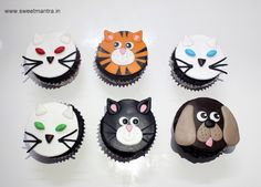 Homemade eggless personalized, handcrafted, Cat and Dog theme customized designer fondant cupcakes for birthday girl at Pashan, Pune