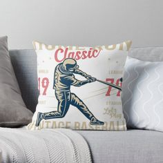 Vintage Baseball Pillows & Cushions   Redbubble Cleveland Baseball, Philadelphia Phillies, Cleveland Indians, Baseball Helmet, Indians Baseball, Daybed Pillows, Cushions, Baseball Pennants, Softball Players