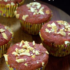 Eggless Beetroot Cashew Cupcakes Recipe Desserts with whole wheat flour, all-purpose flour, beets, yoghurt, olive oil, milk, granulated sugar, vanilla essence, baking powder, baking soda, salt, cashew nuts