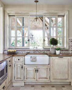best Ideas for farmhouse patio decor window Window Over Sink, Kitchen Sink Window, Kitchen Cabinets, Kitchen Windows, Farmhouse Windows, Kitchen Sinks, New Kitchen, Kitchen Decor, Kitchen Design