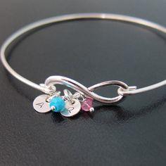 Mothers Infinity Bracelet w Initials & Birthstones, Mom Infinity Bracelet, Gift, Mothers Day Jewelry, Mothers Day Bracelet, Gift for Grandma