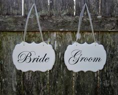 Wedding Signs, Hand Painted Wooden Shabby Chic Bride and Groom Decorative Wedding Signs / Wedding Chair Signs on Etsy, $39.00