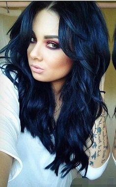 New Hair Color Black Short Long Bobs Ideas Dark Blue Hair, Hair Color For Black Hair, Cool Hair Color, Purple Hair, Blue Tips Hair, Teal Ombre Hair, Midnight Blue Hair, Hair Colors, Dye My Hair