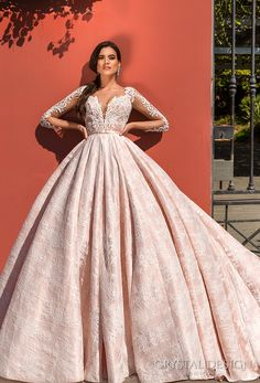 crystal design 2017 bridal long sleeves deep plunging sweetheart neckline heavily embellished bodice lace princess pink ball gown wedding dress keyhole back monarch train (jovana) mv