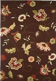 Delightful Area Outdoor Area Rug, 2'X3', COCOA BROWN by Home Decorators Collection. $79.00. From the Inside Out Collection, the Delightful Area Rug will enhance your floor space with colorful floral patterns and a durable construction that can be used either indoors or out. Place it outside on your patio for a splash of color or inside for a great transitional look in any room. Order yours today. Hand-hooked, synthetic rug. Available in a variety of colors. Actual size is 2'X3'