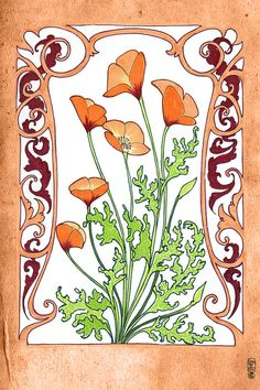 Orange California Poppies Botanical Illustration by Dancingheron, $7.00-- nice image for a tattoo maybe