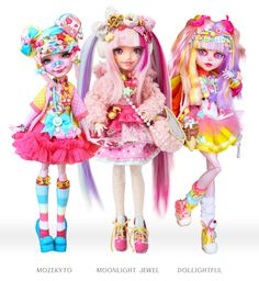 The Harajuku Japanese fashion dolls by Mozekyto, Moonlight Jewel, and Dollightful. The Harajuku Japanese fashion dolls by Mozekyto, Moonlight Jewel, and Dollightful. Ooak Dolls, Blythe Dolls, Barbie Dolls, Art Dolls, Barbie Clothes, Custom Monster High Dolls, Custom Dolls, Harajuku, Pretty Dolls