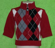 The Children's Place Baby Boys Dressy Red Argyle Knit Sweater Size 12 Months EUC #TheChildrensPlace #Pullover #DressyEverydayHoliday