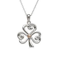 Open Shamrock Pendant #houseoflor #irishjewelry #irishgold #pendant #sterlingsilver #rosegolf #shamrock #celticjewelry