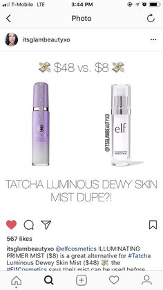 Tatcha dewy skin mist dupe is from elf Skincare Dupes, Drugstore Makeup Dupes, Beauty Dupes, Makeup Brands, Best Makeup Products, Elf Dupes, Beauty Products, Dewy Makeup, Shopping