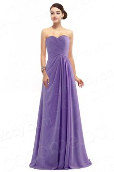Delicate A-Line Sweetheart Empire Floor Length Chiffon Purple Sleeveless Zipper Bridesmide Dress with Ruched and Draped COZF1401D  #bridesmaiddress #cocomelody