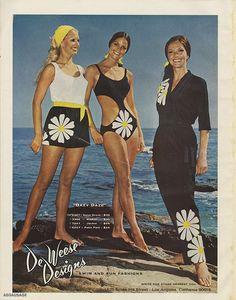 Cute Swimwear - Dazy Days by De Weese Designs - Daisy Swimsuit 60s And 70s Fashion, Retro Fashion, Vintage Fashion, Women's Fashion, Patti Hansen, Lauren Hutton, Vintage Mode, Vintage 70s, Vintage Classics
