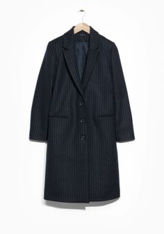 & Other Stories image 2 of Pinstripe Coat in Blue Dark