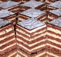Stollwerck szelet - www.kiskegyed.hu Hungarian Desserts, Hungarian Cake, Hungarian Recipes, Chocolate Truffles, Chocolate Recipes, Pastry Recipes, Cake Recipes, Sweet Cookies, Cake Bars