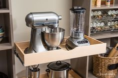 Love to bake? Free up counter space by storing appliances in the pantry. Get more expert pantry organization tips and tricks here >> http://blog.diynetwork.com/maderemade/2015/09/30/closet-boot-camp-a-pantry-perfected/?soc=pinterest