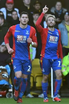 Crystal Palaces French midfielder Yohan Cabaye (R) celebrates after scoring the opening goal of the English Premier League football match between Watford and Crystal Palace at Vicarage Road Stadium in Watford, north of London on December 26, 2016. / AFP / OLLY GREENWOOD / RESTRICTED TO EDITORIAL USE. No use with unauthorized audio, video, data, fixture lists, club/league logos or live services. Online in-match use limited to 75 images, no video emulation. No use in betting, games or si...