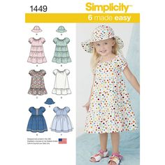 """your toddler will love these six dresses made easy with hat in three sizes s  (19""""), m(20""""), l(21""""). ruffles, trims, overlays and bows make these as fun to make as they are fun to wear. simplicity sewing   pattern."""