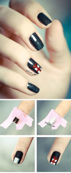 DIY christmas present nail design, simple and cute for the holiday!