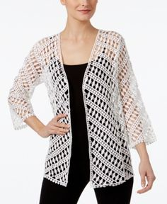 Alfani Cotton Crochet Open-Front Cardigan, Only at Macy's - White XXL Crochet Jacket, Crochet Cardigan, Cotton Crochet, Crochet Top, Double Crochet, Cardigans For Women, Jackets For Women, Crochet Stitches, Crochet Patterns