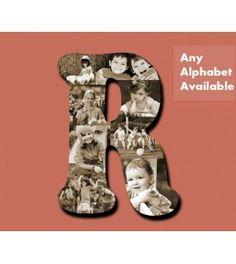 Wooden alphabet hanging photo collage - large