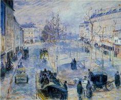 Boulevard de Clichy, Winter, Sunlight Effect - Camille Pissarro - The Athenaeum