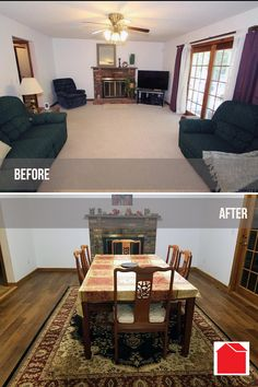 """Monthly #PhotoContest dining room remodel entry from Nicole H. in East Hartford, CT. """"We installed new flooring in a house we just bought, our first #DIY project!"""". Great job Nicole!  Enter your before and after project photos for a chance to win a $100 Bargain Outlet gift card. Follow the """"Photo Contest"""" link in the footer of the Bargain Outlet website."""