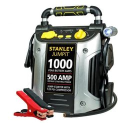Give your car battery the boost it needs to get going with the Stanley 1000 Peak Jump Starter with Air Compressor. A rotating LED light attached to the Stanley jump starter with compressor makes it easy to see when you're working in dark conditions. Battery Clamp, Battery Icon, Portable Air Compressor, Power Cars, Led Work Light, Portable Battery, Lead Acid Battery, Charger, Iphone 6