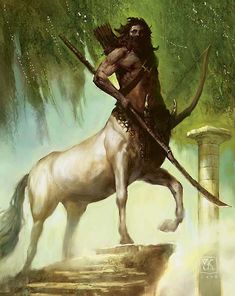 Art by Vance Kovacs - Centaur sentinel with a hunter's bow and a long glaive