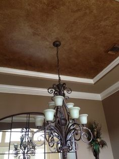 I like that the paint on the wall is the same as the for Dining room ceiling paint ideas