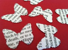 novel wedding confetti - A Midsummer Night's Dream by William Shakespeare - 300 butterfly shaped confetti. $6.00, via Etsy.