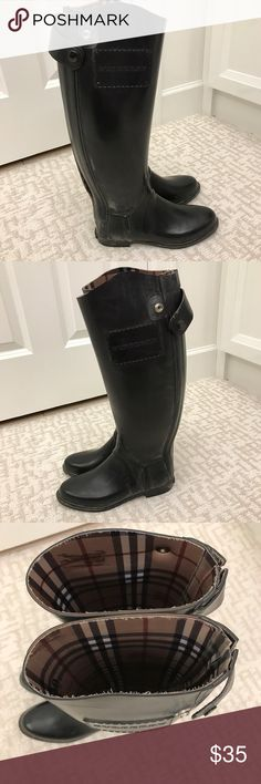 Burberry rain boots Black Burberry rain boots. Lots of pilling and some discoloration. Size 38. Used Burberry Shoes Winter & Rain Boots
