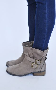 Taupe Suede Ankle Boot - Dottie Couture Boutique