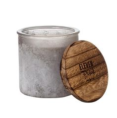 Hand poured, 14 Oz soy blend candle, in a large glass with weathered grey stone finish, topped with a wooden lid (4 x 4) Coconut Moon, coconut water infused with hints of vanilla and sweet peaches. We