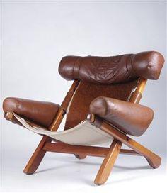 Lauritz.com - Moderne Möbel - Tische und Stühle - Arne Norell, fåtölj, loungemodell, skinn samt kohud