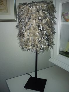lampshade with guinea fowl feathers