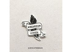 Harry Potter Pin Wingardium Leviosa Spell Badge by ByScatterbrain