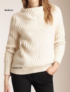 Вязаный свитер спицами от Burberry - СХЕМЫ