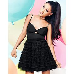 ARIANA GRANDE FOR LIPSY RUFFLE PROM DRESS ❤ liked on Polyvore featuring dresses, flouncy dress, flutter-sleeve dress, lipsy dress, flounce dress and ruffle dress