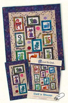 "Lunch Box Quilts Cat's Meow. Whether you are a cat lover or know someone that loves cats, this quilt pattern is a must have. Seven stylish embroidery appliqué cats and five additional cat related designs complete this collection. Quilt patterns are included to make a quilted wall hanging or a 50"" x 57"" quilt. Pattern includes USB drive with embroidery designs and instructions."