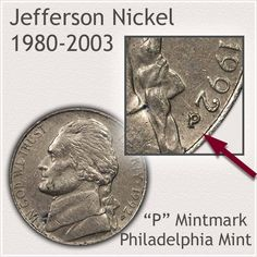 1980 to 2003 Obverse Philadelphia Mintmark Jefferson Nickel Variety Rare Coins Worth Money, Valuable Coins, Show Me The Money, How To Get Money, Old Coins Value, Money Penny, Coin Worth, Coin Values, Old Money