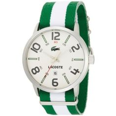 Lacoste Men's 2010496 Barcelona Green and White Grosgrain Strap White Dial Watch